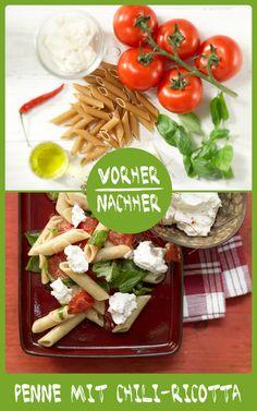 http://eatsmarter.de/rezepte/penne-chili-ricotta Pasta geht immer. Chili verleiht Schärfe und Ricotta Cremigkeit.