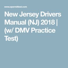 New Jersey Drivers Manual (NJ) 2018 | (w/ DMV Practice Test)