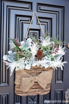 """Winter """"Wreath"""" for After Christmas DIY ~ Front Door Decor. After Christmas, Noel Christmas, Christmas Wreaths, Christmas Crafts, Cottage Christmas, Winter Wreaths, Spring Wreaths, Summer Wreath, Outdoor Christmas"""