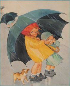 Children with Umbrella Digital Downloadable Printable Image