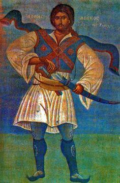 Athanasios Diakos the eagle of Rumeli. Part of fresco by Fotis Kontoglou, located in the City Hall of Athens.  Αθανάσιος Διάκος ο Αητός της Ρούμελης. Μέρος τοιχογραφίας του Φώτη Κόντογλου,που βρίσκεται στο Δημαρχείο της Αθήνας.