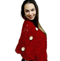 Cabled Red Poncho With Bone Buttons from Picsity.com