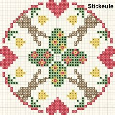 <3 Cross-stitch Easter Biscornu ... no color chart available, just use the pattern chart as your color guide.. or choose your own colors...