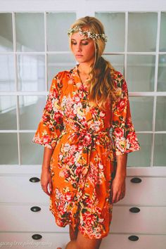 215 Floral kimono crossover robe Bridesmaids maid by ComfyClothing