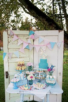 Baby Shower Dessert Table by JennyCookies vintage baby shower, baby shower ideas, baby bird shower, baby shower desserts table, baby shower cake table, baby shower themes, bird shower dessert, baby shower dessert tables, babi shower