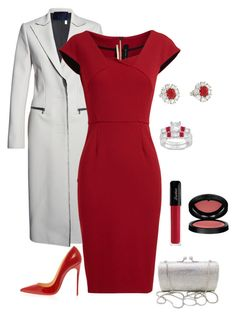 a vision in red by borntoread on Polyvore featuring Roland Mouret, Lanvin, Christian Louboutin, Allurez and GAB