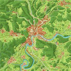A natural-color map of Schaffhausen, Switzerland.