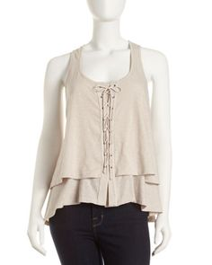 Elizabeth and James - Tiered Lace-Up Top, Dust | REg. $145, Sale $69 + 35% =  $44.85
