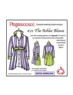 Patron de couture upcycled transforme les chemises pour hommes à la blouse de la femme.  Patron Blouse Paganoonoo Ashlee