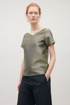 COS image 2 of Structured v-neck top in Khaki Green