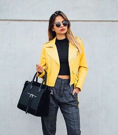 #musthave Yellow Leather Jacket via @fashionshopnow #TheFashionistasDiary