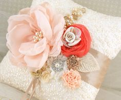 Bridal Ring Bearer Pillow with Embroidered Lace in Ivory, Champagne, Peach and Coral with Handmade Flowers, Pearls and Crystal Jewels via Etsy