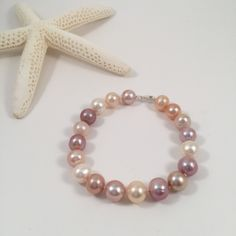 Multicolor Freshwater Pearl Bracelet, Natural Color Pearl Bracelet, Bridal Pearl Bracelet, Wedding Jewelry, Bridesmaid Bracelet by JiaojiaosPearls on Etsy