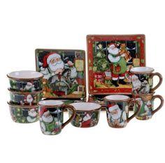 16 Pc Santa Claus Decor Dinnerware Ceramic Desert Plates Salad Soup Bowls Mugs #CII