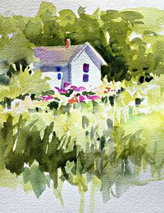 Quick watercolor showing values with a large brush - In and Out of The Studio: Small White Cottage
