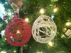 Make your own Christmas ornaments - with balloons, twine, glue, and spray paint. The white are my fave.