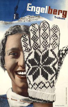Solid-Faced Canvas Print Wall Art Print entitled Engelberg Ski,Vintage Poster, by Herbert Matter