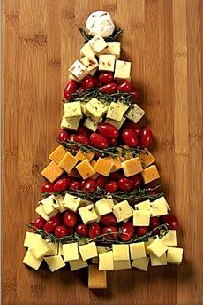 Cheddar Cheese Christmas Tree Recipe - Holiday Appetizers, Hors d'Oeuvre, Party Food, Entertaining - Christmas Cheese Board - Cheese Plate - THE NIBBLE Gourmet Food Magazine