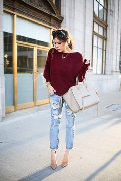 NOVEMBER 19, 2015 Laid Back Outfit | Holiday Style - SWEATER: Tobi c/o | DENIM: Tobi c/o | HEELS: Christian Louboutin (Dupes for under $100 HERE) | BAG: Celine (love this BEIGE bag!) | SUNGLASSES: Celine (Dupes for under $100 HERE) | WATCH: Michael Kors | BRACELET: BaubleBar | NECKLACES: Love Always, Jennifer Zeuner | EARRINGS: Chanel (love THESE studs though!) |