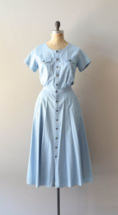vintage 80s chambray dress / denim dress / Big by DearGolden, $44.00