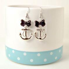 Retro Nautical Sailor Lolita Earrings Anchor Black Bow Kawaii Jewelry on Etsy, $10.00