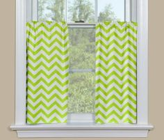 Green Colors Kitchen Curtains Zig Zag Designs