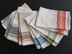 Blended BGH overshot drafts: Remembrance and Trellis. 6 towels in unmerc. 10/2 cotton with 5/2 cotton pattern weft