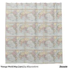 Vintage World Map (1901) Shower Curtain