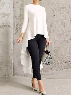 blusas Women Long Sleeve Crew Neck High Low Hem Solid Blouse Women's Clothing from Clothing and Apparel on Chic Outfits, Fashion Outfits, Womens Fashion, Fashion Blouses, Xl Fashion, Fashion 2018, Fashion Brands, Summer Outfits, Fashion Tips