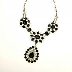 $5.63 Chic Style Black Rhinestone Embellished Flower Shape Pendant Women's Sweater Chain Necklace