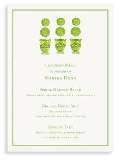 Adorable for a garden luncheon - menu Invitation Paper, Party Invitations, Luncheon Menu, Apricot Tart, Harvest Salad, Menu Printing, Bridesmaid Luncheon, Party Entertainment, Sorbet