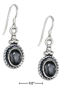 Sterling Silver Roped Border Oval Hematite Earrings On French Wires