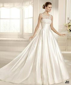Satin wedding dresses look beautiful. Satin wedding gowns can be found in a lot of fantastic colors and shapes including green wedding dress La Sposa Wedding Dresses, Wedding Dress Train, Perfect Wedding Dress, Wedding Dress Styles, Bridal Dresses, Bridesmaid Dresses, Gown Wedding, Ball Dresses, Ball Gowns