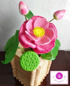 Crocheted realistic lotus flower twig by BeACrafterxD on Etsy, $25.00
