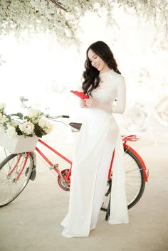Bicycle Girl, Ao Dai, White Girls, Traditional Dresses, Asian Girl, Feminine, Formal Dresses, Collection, Women