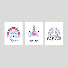 Rainbow Unicorn Decor, Rainbow Wall Art, Rainbow Room Decor for Girls, Rainbow Bedroom Decor for Girls, Set of 3 Rainbow Prints or Canvas Rainbow Bedroom, Rainbow Wall, Rainbow Print, Rainbow Unicorn, Unicorn Decor, Rainbow Decorations, Girl Room, Vibrant Colors, Bedroom Decor