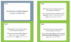 Information Literacy Weblog: SEEK search skills game  You have the instructions, notes for tutors and the cards (front and back) ready to print out.  The cards tell you to do things like identify the most important words in a search question and think of synonyms for searching