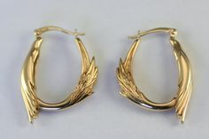 Hoop earring 14k solid gold phoenix bird symbolic women