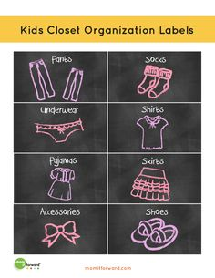 Print out these cute labels for some help organizing your kids clothes. Includes both boy and girl.