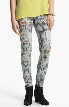 Fire Destroyed Ethnic Print Denim Skinny Jeans available at Nordstrom #etnicos #indicolor®