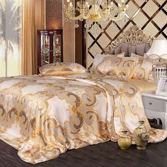 Beige Gold and Grey Soft and Elegant Traditional Oriental Floral Print 100% Mulberry Silk Bedding Set