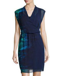 TA2KQ T Tahari Snake-Print Wrap Dress, Navy/Sapphire