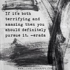 If it's both terrifying and amazing, then you should definitely pursue it. -Erada