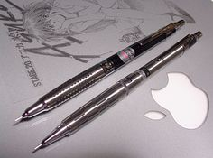 "Pilot - H-2003 ""vanishing point"" Double Knock Drafting / Drawing Mechanical Pencil next to a similar style Newman"