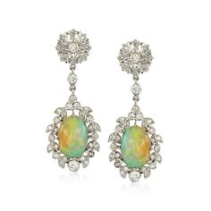 C. 2000 Vintage Opal and .80 ct. t.w. Diamond Drop Earrings in 14kt White Gold