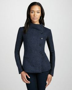 ELIZABETH AND JAMES Jackets for Women | Elizabeth And James Victor Asymmetric Jacket in Gray (blue speck ...