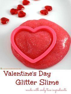 2 Ingredient Glitter Slime for Valentine's Day 6 oz. Glitter Glue Bottle & C. My Funny Valentine, Valentine Theme, Valentines Day Party, Valentines For Kids, Valentine Day Crafts, Holiday Crafts, Holiday Fun, Valentine Ideas, Kindergarten Party
