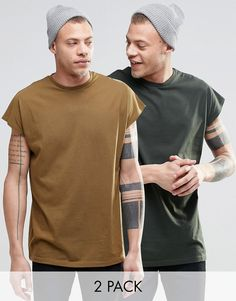 Image 1 of ASOS Oversized Sleeveless T-Shirt 2 Pack Save 17%