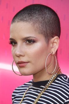 Halsey Straight Medium Brown Buzz Cut Hairstyle   Steal Her Style