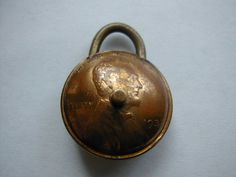 antique miniature Copper Wheat penny trick padlock 1 inch x 3/4 inch